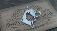 Beagle pierced head pendant sterling silver handmade by saw piercing Caroline Howlett Design